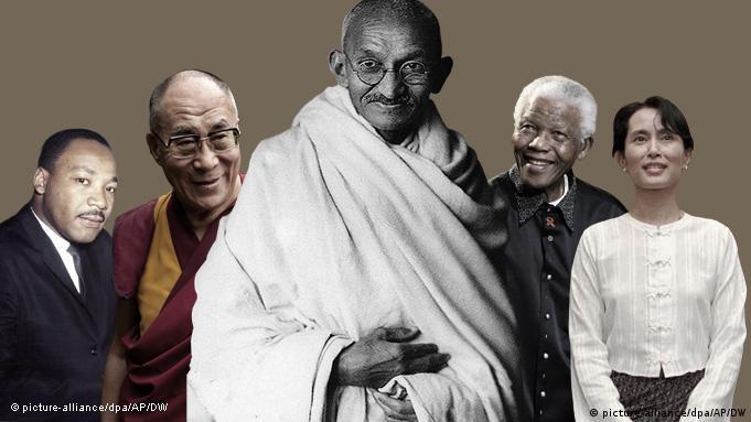 Mahatma Gandhi, Aung San Suu Kyi, Nelson Mandela, dem Dalai Lama und Martin Luther King in einer Fotomontage (Foto: DW)