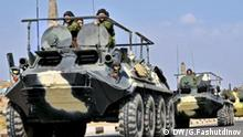 Russische militärische Technik fährt zu militärischen Übungsplatz in Duschanbe, Tadschikistan, September 2011 Zugestellt von Natalie Posdnjakov