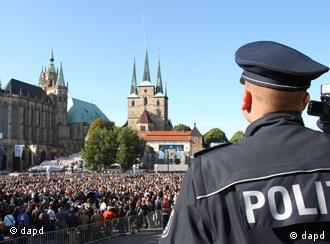 Policeman overlooking Erfurt's Cathedral Square
