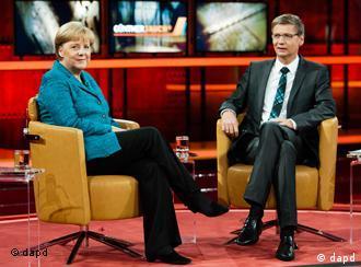 Bundeskanzlerin Merkel und Günther Jauch (Foto. dapd)