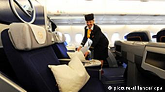 Business class in Lufthansa plane