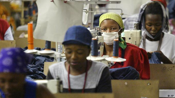 Women work in a textile factory in Lesotho