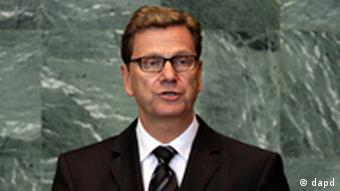 Foreign Minister of Germany, Guido Westerwelle, addresses the 66th session of the United Nations General Assembly, Monday, Sept. 26, 2011. (Foto:Richard Drew/AP/dapd)