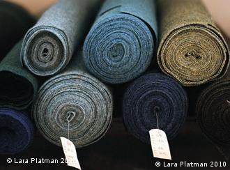 Bolts of Harris Tweed fabric