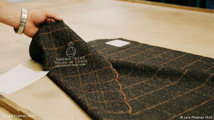Harris Tweed fabric marked with the orb stamp