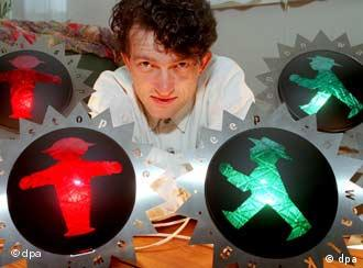 Markus Heckhausen's right to use the traffic-light man is being contested