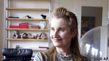 Austrian Nobel Prize Winner in literature, novelist and playwriter Elfriede Jelinek is seen in her home in Vienna during an interview with the AP on Thursday Oct. 7, 2004, after the award was announced. Jelinek is the first woman since 1996 to obtain the coveted prize, worth $1.3 million. (AP Photo/Rudi Blaha)