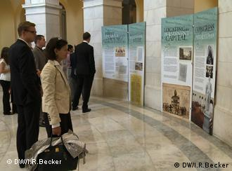 visitors looking at exhibits in the US Congress