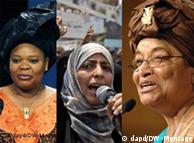 De gauche à droite les trois lauréates : Leymah Gbowee, Tawakkul Karman et Ellen Johnson Sirleaf