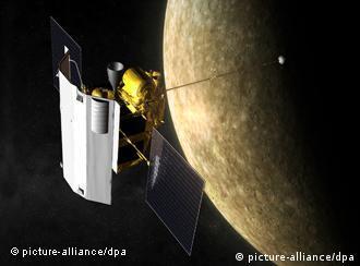 Космическая станция MESSENGER на орбите вокруг Меркурия