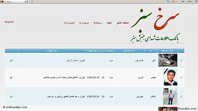 Screenshot of Iranian protest movement database