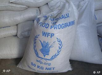 A sack of World Food Program food on a truck in Somalia