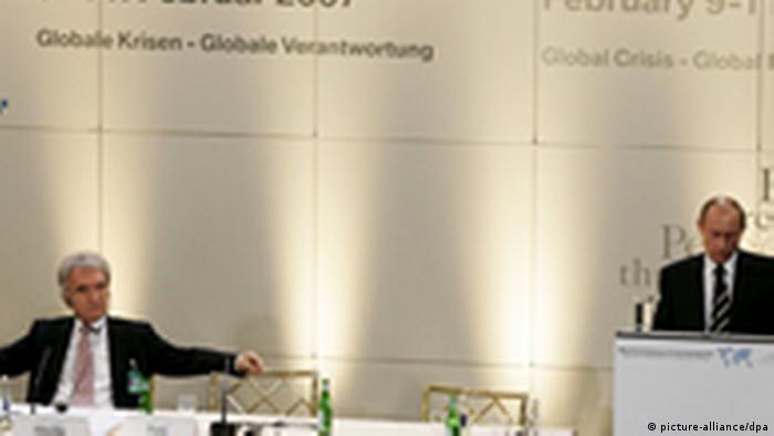 Horst Telčik i Vladimir Putin na konferenciji u Minhenu 10.020. 2007.