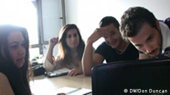 Independent Democratic Youth work on their electoral website service in October 2011 in Tunis