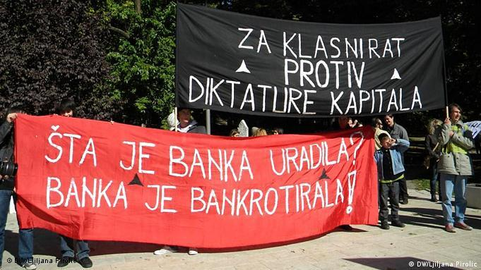 Demonstrationen Sarajevo Banken Flash-Galerie