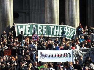 Protestaktion vor der Börse in London (Foto: DW- Nik Martin)