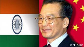 Symbolbild Wen Jiabao Flagge Indien China