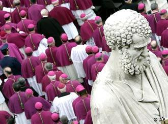 A crowd of bishops in Rome with a statue of St. Peter in the foreground