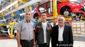Turkish workers in auto plant