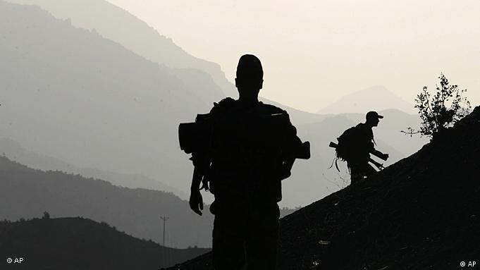 Turkish soldiers patrol in the province of Sirnak, on the Turkish-Iraqi border