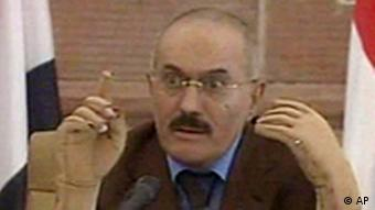 In this image made from video, Yemen's President Ali Abdullah Saleh speaks on Yemen State Television broadcast Saturday, Oct. 8, 2011. The TV broadcast showed Saleh talking to members of the Yemen parliament, railing against the opposition and calling the crisis a conspiracy against him. (AP Photo/Yemen State TV)