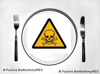 Bildmontage giftiger Teller von Pauline Berthellemy Rèseau enironnement sente dem Netzwerk Umwelt und Gesundheit in Frankreich gnenbroschüre zu Bisphenol A, die RES vor 2 Jahren machte. Die Verwendung ist für die DW frei.