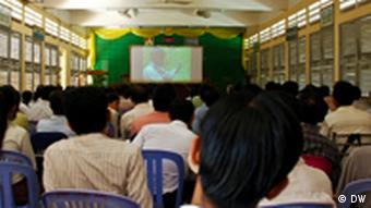 Cambodian history teachers attend a training session to learn about Khmer Rouge history