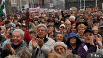 Demonstrators chant slogans against Hungarian Prime Minister Viktor Orban during an anti-government demonstration in Budapest, Hungary, Sunday, October 23, 2011