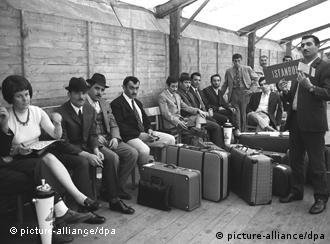 Turkish Guest workers waiting for departure from Germany to Turkey