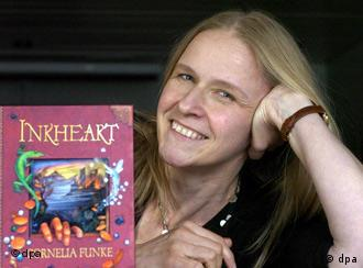 Cornelia Funke with Inkheart, one of her most successful books