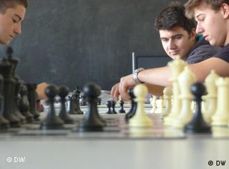 Pupils playing chess at the Eurostandard High School in Sofia