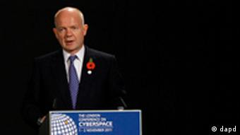 William Hague speaking at the Cyberspace Conference