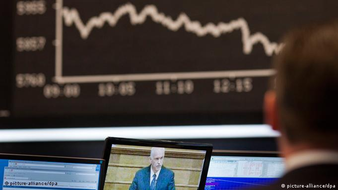Line of dropping stock prices behind video of Greek PM Papandreou
