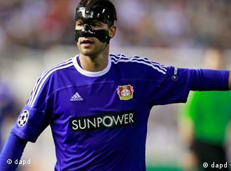 Leverkusen's Michael Ballack wearing a carbon face mask