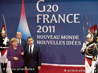 Chancellor Merkel in Cannes with French President Sarkozy
