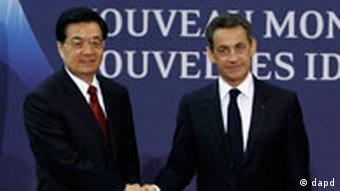 French President Sarkozy and Chinese President Hu Jintao