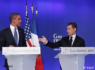 U.S. President Barack Obama, left, and French President Nicolas Sarkozy make statements to reporters at the G20 Summit in Cannes, Thursday, Nov. 3, 2011. (Foto:Charles Dharapak/AP/dapd)