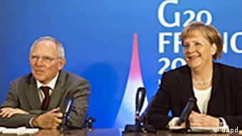 Frankreich Deutschland Gipfel G20 in Cannes EU Pressekonferenz Angela Merkel und Wolfgang Schäuble
