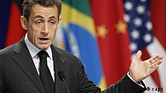 Frankreich Gipfel G20 in Cannes EU Pressekonferenz Nicolas Sarkozy