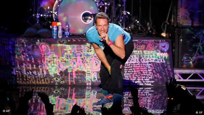 Chris Martin of the band Coldplay performs at the MTV European Music Awards 2011