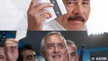 Kombobild Guatemala Präsident Otto Perez Molina und Nicaragua Präsident Daniel Ortega