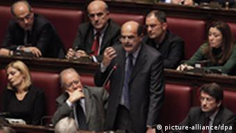 Pier Luigi Bersani, leader of the main opposition Democratic Party speaking in parliament on Tuesday