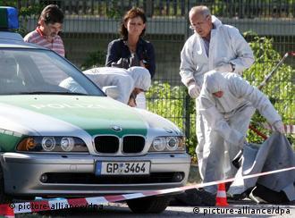 Police investigate a crime scene in Heilbronn
