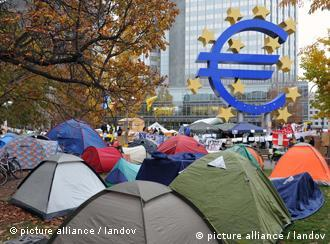 Protesters camped in front of European Central Bank in Frankfurt