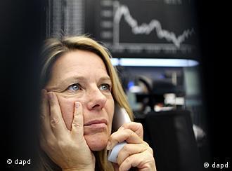 A trader at the Frankfurt stock market