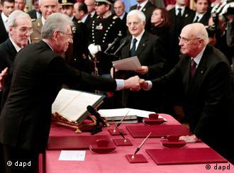 Mario Monti shakes hands with Napolitano after swearing in