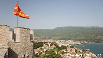 Medieval fortress with Macedonian flag