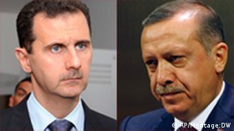 رجب طیب اردوغان (راست)، نخست وزیر ترکیه و بشار اسد، رئیسجمهور سوریه