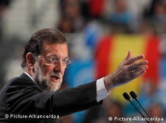 Spanish main opposition party Popular Party (PP) leader and Prime Minister candidate Mariano Rajoy attends during the last electoral campaigne act of the general elections held at Sports Palace of Madrid, Spain on 18 November 2011. Spain will held general elections upcoming 20 November. EFE/Javier Lizon