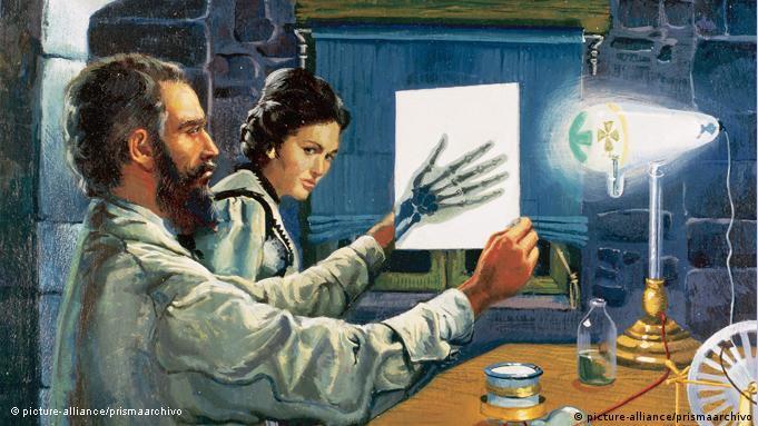 Ilustração mostra raio X de mão